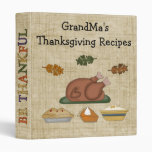Thanksgiving Collection GrandMa's Recipes Cookbook 3 Ring Binder