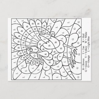 Thanksgiving Color by letter Holiday Postcard