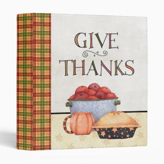 Thanksgiving Cook Book 3 Ring Binder