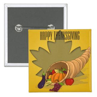 Thanksgiving Cornucopia 2 Inch Square Button