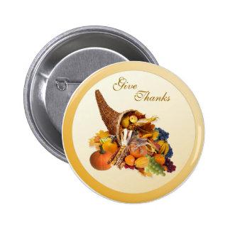 Thanksgiving. Cornucopia Button