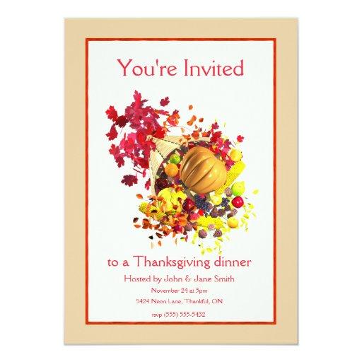 Thanksgiving Cornucopia Custom Announcements