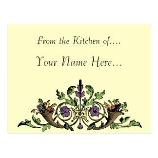 Thanksgiving cornucopia Custom Recipe Card