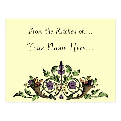 Thanksgiving cornucopia Custom Recipe Card Postcard