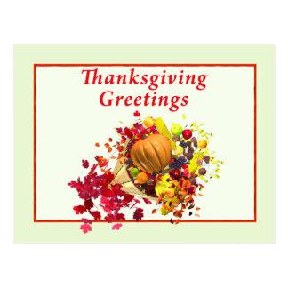 Thanksgiving Cornucopia Greetings Postcard