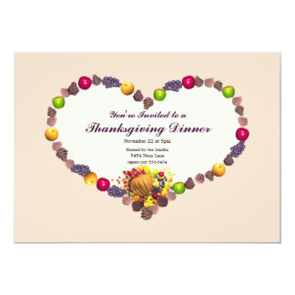 Thanksgiving Cornucopia Heart Dinner 5x7 Paper Invitation Card