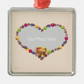 Thanksgiving Cornucopia Heart (photo frame) Metal Ornament