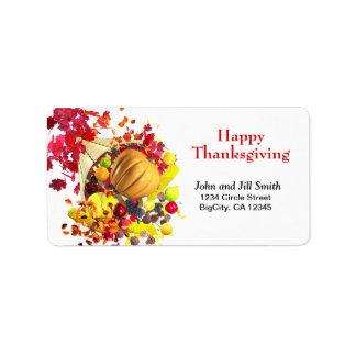Thanksgiving Cornucopia Personalized Address Label