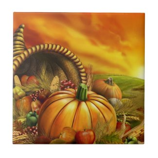 Thanksgiving cornucopia pumpkin field ceramic tile