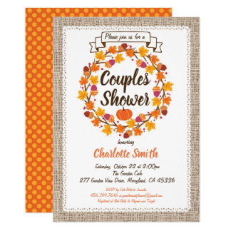 Thanksgiving couples shower invitation wreath