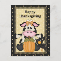 Thanksgiving, Cow, Postcard, holiday