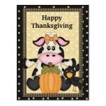 Thanksgiving, Cow, Postcard, holiday Postcard