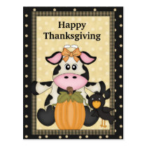 Thanksgiving, Cow, Postcard, holiday Postcard