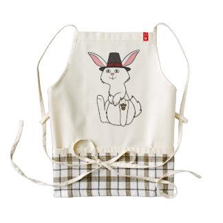 Thanksgiving Cream Rabbit with Pilgrim Hat Zazzle HEART Apron