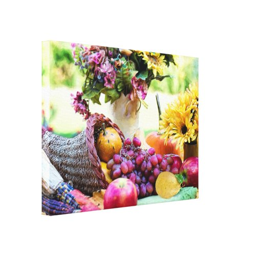 Thanksgiving Cornucopia with Fruits and Flowers Canvas Print - Cornucopia holiday wall decor