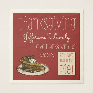 Thanksgiving Customized with Pie! Paper Napkin