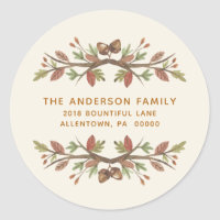 THANKSGIVING CUTE FALL FOLIAGE RETURN ADDRESS CLASSIC ROUND STICKER