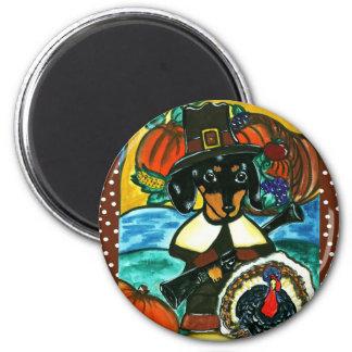 Thanksgiving Dachshund 2 Inch Round Magnet