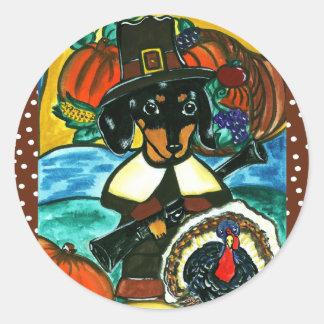Thanksgiving Dachshund Classic Round Sticker