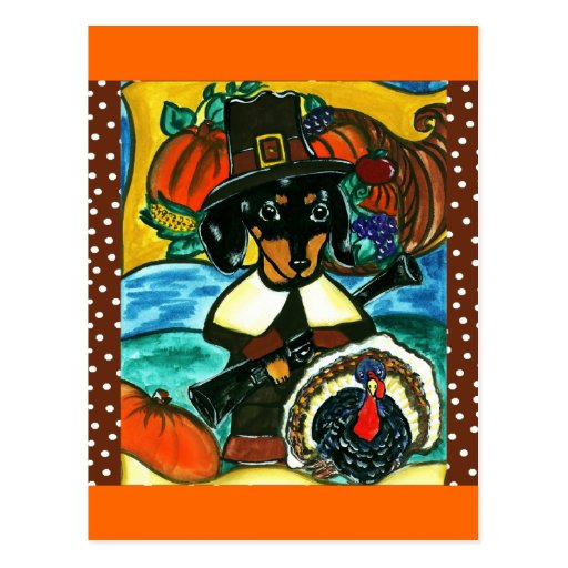 Thanksgiving Dachshund Postcards