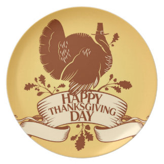 Thanksgiving Day Design With Turkey And Ribbon Melamine Plate
