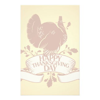 Thanksgiving Day Design With Turkey And Ribbon Stationery