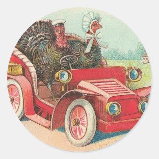 Thanksgiving Day Driving Turkeys Round Stickers