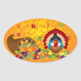 Thanksgiving Day Fall Bountiful Harvest Cornucopia Oval Sticker