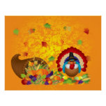 Thanksgiving Day Fall Bountiful Harvest Cornucopia Poster