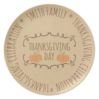 Thanksgiving Day. Family Thanksgiving Celebration. Plate