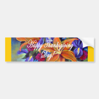 Thanksgiving Day Flowers & Pears Painting - Multi Bumper Sticker