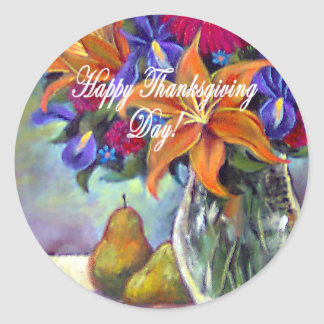 Thanksgiving Day Flowers & Pears Painting - Multi Classic Round Sticker