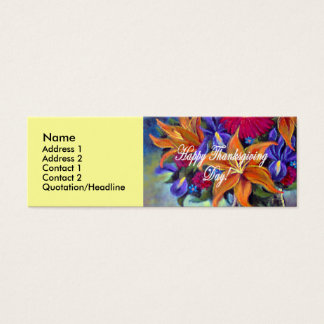 Thanksgiving Day Flowers & Pears Painting - Multi Mini Business Card