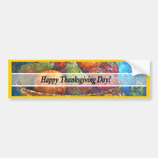 Thanksgiving Day Fruits & Flowers Art - Multi Bumper Stickers