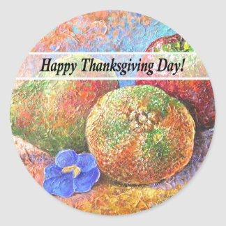 Thanksgiving Day Fruits & Flowers Art - Multi Classic Round Sticker