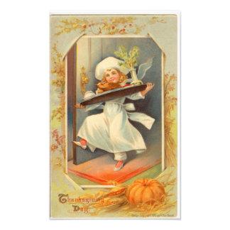 Thanksgiving Day Girl Chef Vintage Photo Print