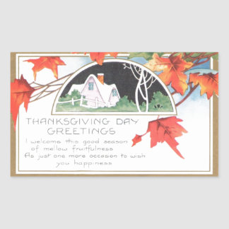 Thanksgiving Day Greetings Pink House Vintage Stickers