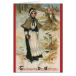 Thanksgiving Day Greetings with a Pilgrim Woman Cards