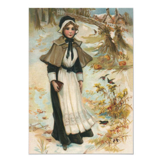 Thanksgiving Day Greetings with a Pilgrim Woman Card