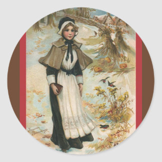 Thanksgiving Day Greetings with a Pilgrim Woman Classic Round Sticker