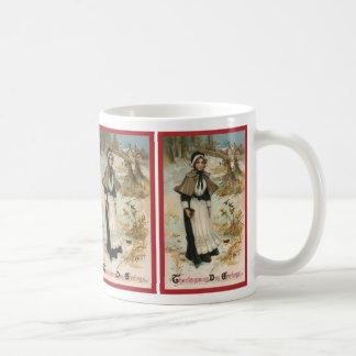 Thanksgiving Day Greetings with a Pilgrim Woman Coffee Mug