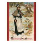 Thanksgiving Day Greetings with a Pilgrim Woman Postcard