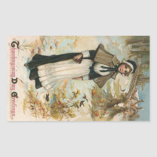 Thanksgiving Day Greetings with a Pilgrim Woman Rectangular Sticker