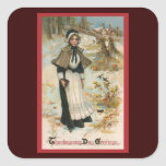 Thanksgiving Day Greetings with a Pilgrim Woman Square Sticker