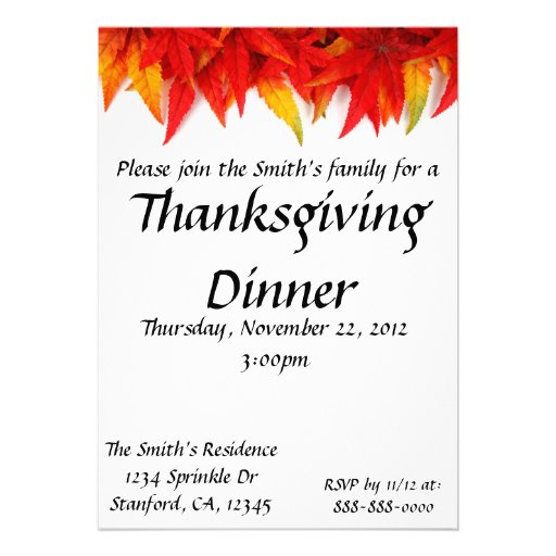 "Thanksgiving Day Invitation Card 5"" X 7"" Invitation Card ..."