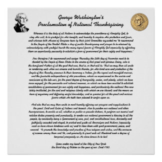 Thanksgiving Day Proclamation by George Washington Poster