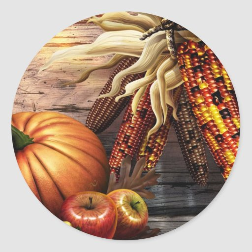 Thanksgiving Day Round Stickers