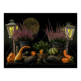 Thanksgiving Day Scene With Bench and Fall Harvest Poster