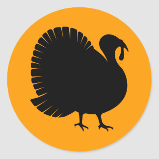 Thanksgiving Day Turkey Silhouette Classic Round Sticker