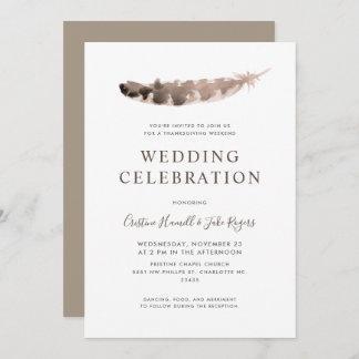 Thanksgiving Day Weekend Wedding Turkey's Feather Invitation